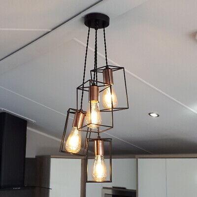 Riva Cluster Ceiling Pendant Light Black Copper 4 Light Modern Minimal 5060377988061 | eBay