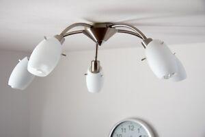 Plafonnier-5-branches-Lustre-moderne-Metal-Verre-Lampe-suspension-argentee-91294