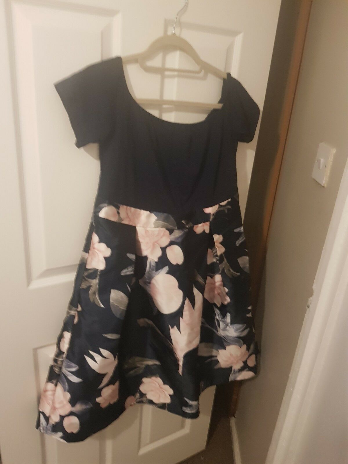 New Size 16 Navy bardot dress with floral detail