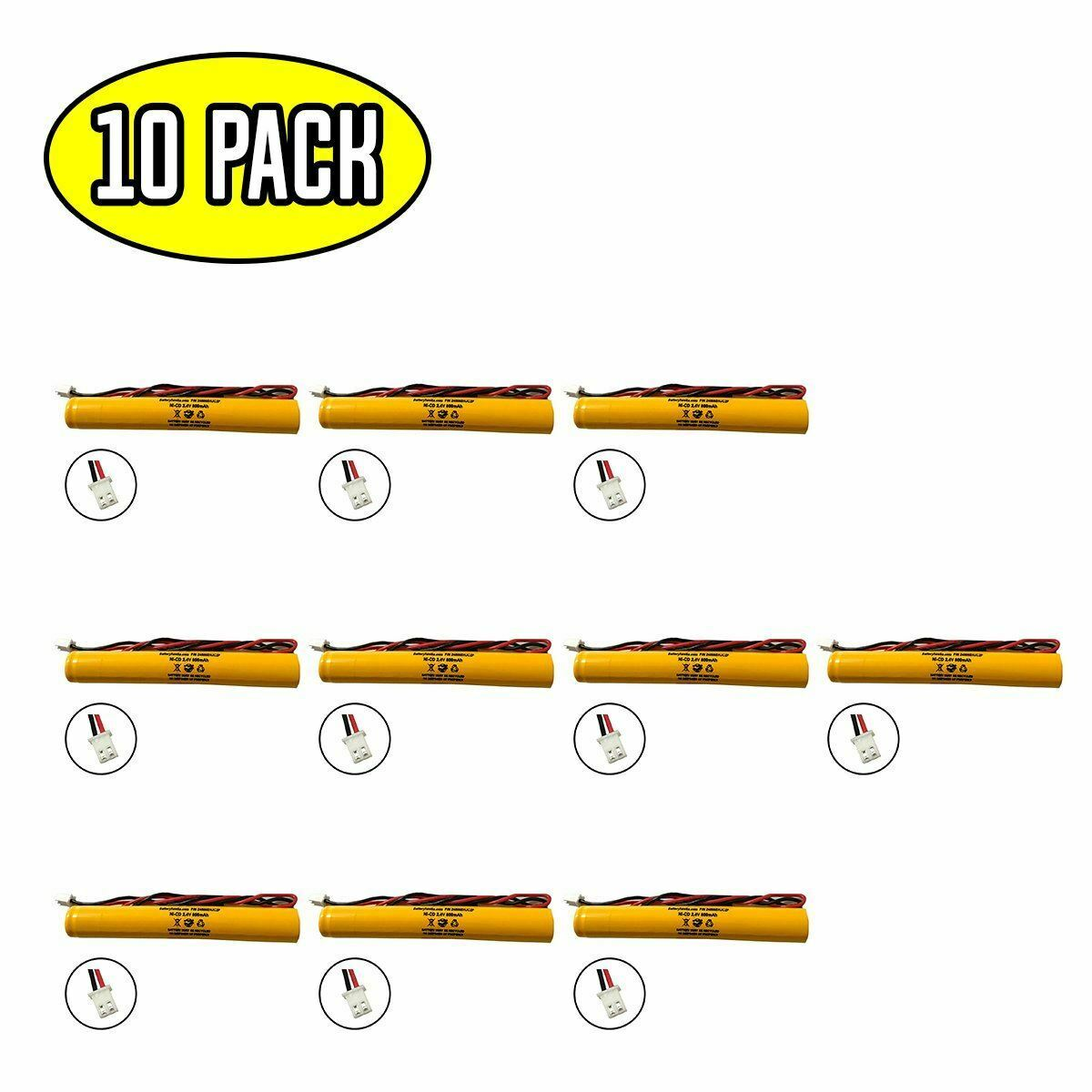 (10 pack) 2.4v 800mAh Ni-CD Battery Pack Replacement for Emergency / Exit Light