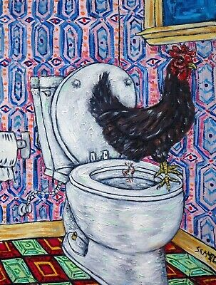 CHICKEN  art PRINT farm animals 11x14 impressionism bathroom gift