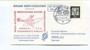 1964 Hermann Oberth-gesellschaft Deutsche Raketen Gesellschaft Berlin Space Sat