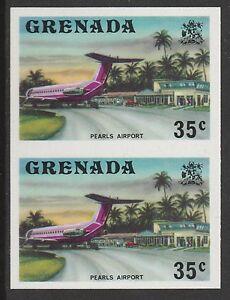 ObéIssant Grenade (431) 1975 Perles Aéroport 35c Non Perforé Paire U/m Renforcement De La Taille Et Des Nerfs