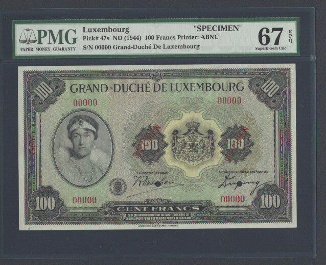 Luxembourg 100 Francs ND(1944) P47s Specimen Uncirculated