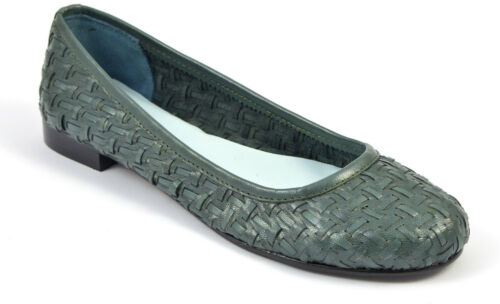 Womens Ladies Green Woven Leather Pumps Shoes Ballerina Loafers Dolly Toe Heels