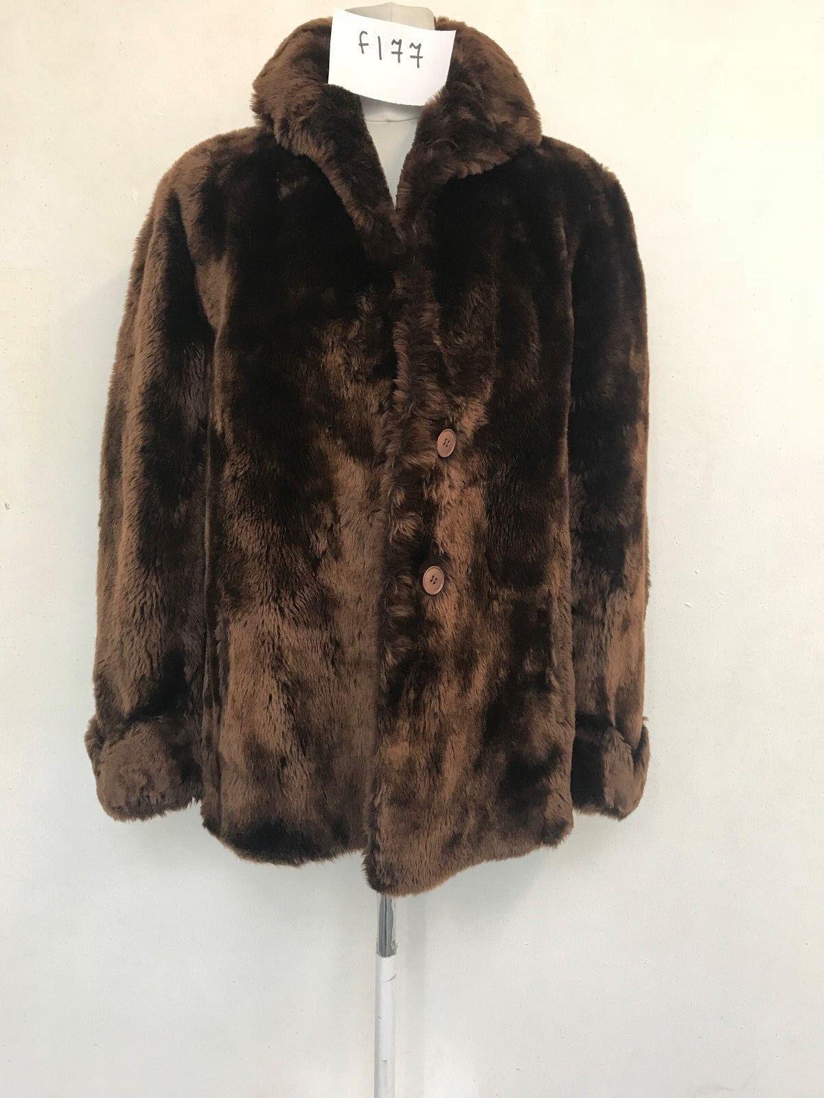 Ladies VINTAGE REAL FUR Coat in Brown Armpit armpit 22  Length 29  (f177)