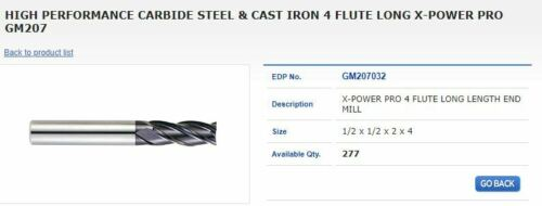 """1//2/""""  End Mill X-POWER"""