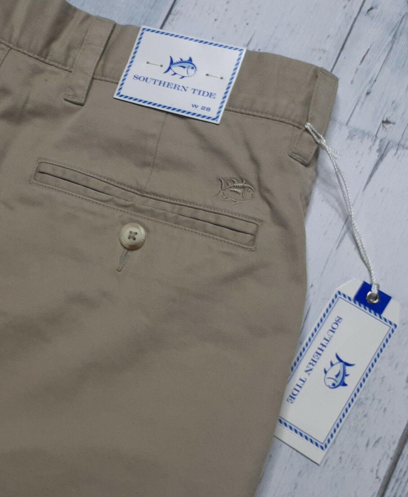 ! nuevo! Southern Tide Para hombres Talla 28 Barrilete Pantalones Cortos de frente plano Beis Nuevo con etiquetas
