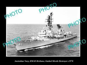OLD-8x6-HISTORIC-PHOTO-OF-AUSTRALIAN-NAVY-THE-HMAS-BRISBANE-DESTROYER-c1970