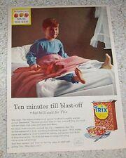 1957 vintage ad -Trix cereal- cute little boy bed PJs General Mills print advert