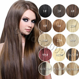 Lot-AAA-20-034-26-034-Pince-en-Remy-Veritables-Cheveux-Humains-Extensions-Straight-105-G-toute