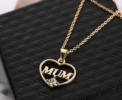 2015 NEW Mother's Day Mum Gift Jewelry Gold Heart Plated Pendent Charm Necklace