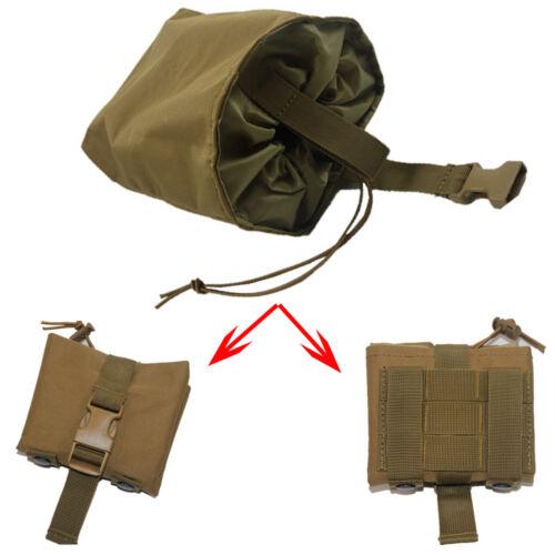 Tactical Folding Magazine Utility PVC Magazine Drop Dump Pouch MOLLE PALS TAN