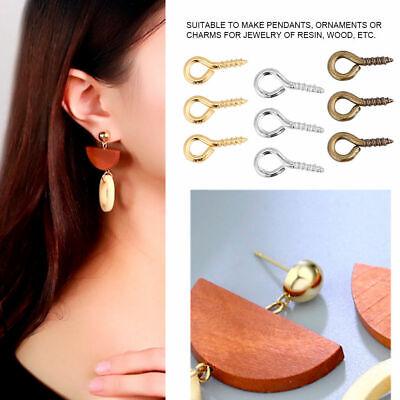 Gold Mini Eye Pins Hooks Eyelets Screw Hooks Threaded Bails Findings for Jewelry Pendant Making 3Colors 200Pcs//Bag