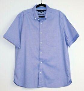 Blue-Harbour-Men-039-s-Luxury-Oxford-Weave-Blue-Chambray-Short-Sleeve-Shirt-Size-L