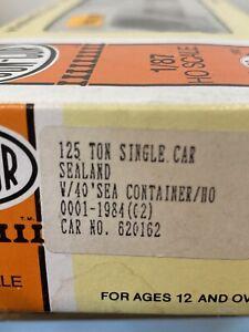 HO-Scale-Con-cor-0001-1984-SeaLand-125-Ton-Single-Car-With-40-Sealand-Container