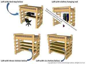 Single Twin Loft Bed Bunk Bed Plans For College Dorm Or Children Ebay