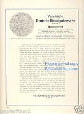 Kieselguhrwerke Hannover Reklame & Historie 1924 Kieselgur Kieselguhr Werbung ad