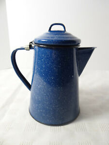 Blue-White-Speckled-Enamelware-Lidded-Coffee-Pot-5-Cup-Camping-Farmhouse