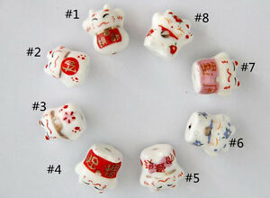 10Pcs-Cat-Pattern-Desgin-Ceramic-Porcelain-Loose-Spacer-Beads-Charms-12x14mm