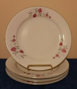 3-Fine-China-Dinnerware-Moss-Rose-Design-10-039-039-dinner-plates-Gold-Trim