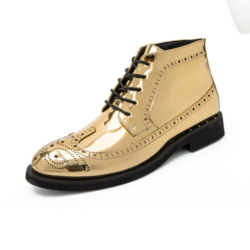 Mens Chunky Carved Shiny Pumps Lace Up Wing Tip High Top Leather Leisure Shoes