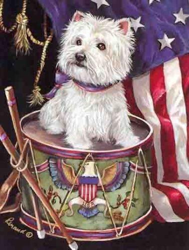WESTIE LIL DRUMMER GARDEN FLAG  FREE SHIP USA RESCUE