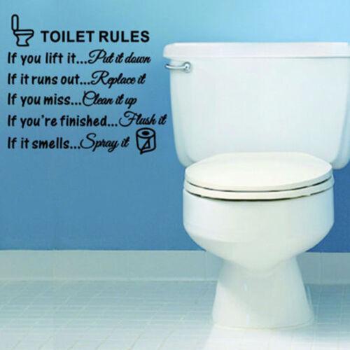Toilet Rules Bathroom Removable Wall Sticker Vinyl Art Decals DIY Home DecSK