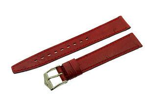 # L131 # Fortis Swiss Made Uhrenarmband Leder Bracelet Leather 14/12 Mm Rot