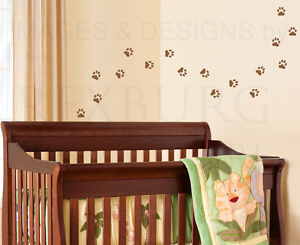 Image Is Loading Paw Print Mural Kids Nursery Playroom Wall Decal