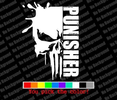 "/""Punisher Skull With Word/"" Sticker Vinyl Cut Decal"