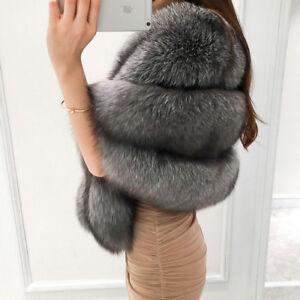 ae45fa66a New Women's Gift Full Pelt Real (Vulpes)Fox Fur Coat Cape Jacket ...