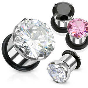 Pair-Steel-CZ-Gem-Single-Flare-Hollow-Ear-Plugs-with-O-Ring-Earrings-Gauges