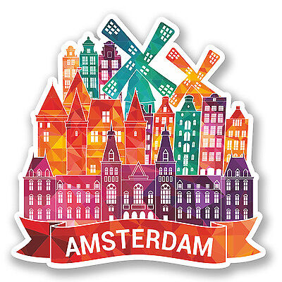 2 x Amsterdam Holland Vinyl Sticker Decal Luggage Travel Netherlands #5783/SV