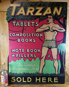 TARZAN-TABLETS-COMPOSITION-BOOKS-NOTE-BOOK-FILLERS-SOLD-HERE-XL-CARDBOARD-SIGN