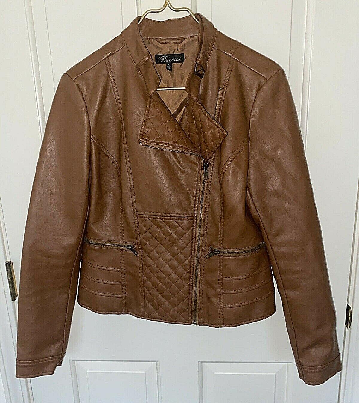 BACCINI Women's Brown Faux Leather Mock Collar Fashion Jacket-Size M