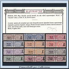 1944 R.S.I. Pacchi Postali Fascio n. 36/47 Cert. Raybaudi RSI Repubblica Sociale