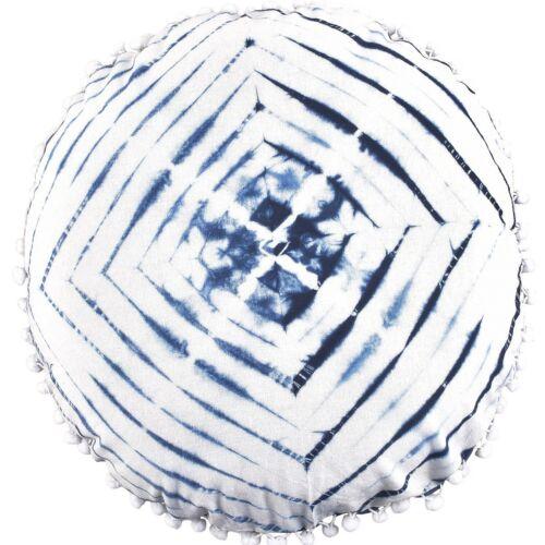 "2 Pcs Indian Shibori Round Pillow Case 16/"" Indigo Tie Dye Handmade Cushion Cover"