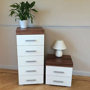 Image Is Loading White Amp Walnut 5 Drawer Tall Boy Chest