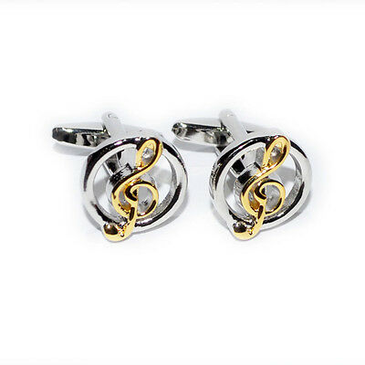 Mens Gold Treble Clef Musical Notes Cuff Links Shirt Studs Formal Gift Box