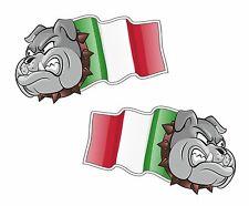 Handed Pair BULLDOG MASCOT Italy Italian Flag vinyl car scooter sticker 50mm
