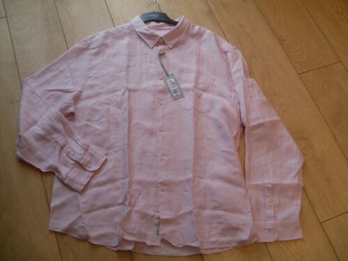 M /& S Homme 100/% Chemise Lin-Xl-Rose-Slim Fit-Bnwt
