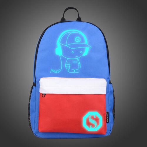Anti-theft Lock+USB Charger Bags Men Women Backpack School Bag Luminous