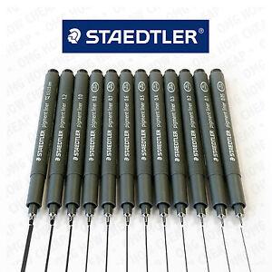 Staedtler-Pigment-Liner-Fineliner-Pin-Black-Ink-12-Nib-Sizes-0-05mm-to-2-0mm