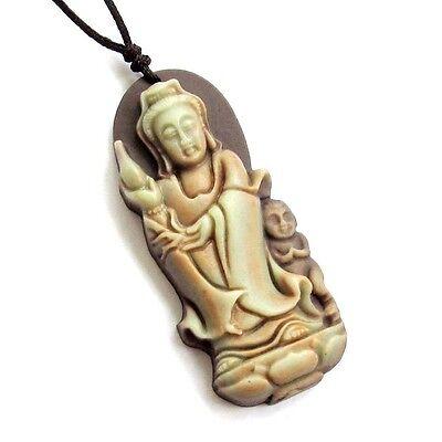 Tibet Buddhist Kwan-Yin Bodhisattva Baby Two Layer Natural Stone Amulet Pendant