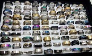 NEW-50pcs-MIX-LOT-Stainless-Steel-rings-Wholesale-Men-Women-Fashion-Jewelry-lot