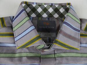 TD-Thomas-Dean-LS-100-Pima-Cotton-Striped-Shirt-110-NWT-Spread-Collar-Blue-Tan