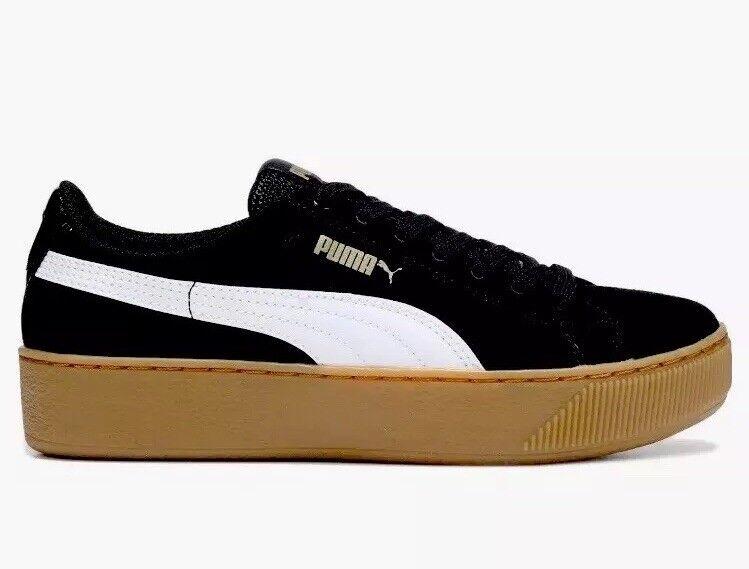Puma Vikky Platform Women Basketball Sneaker shoes 363287 10 Black Gum Size 9.5