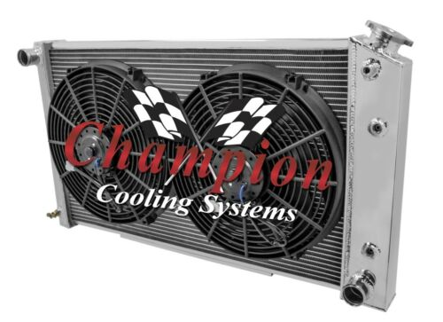"2 Row 1/"" Tubes KR Radiator 26/"" Core W// 2 12/"" Fans for 1978-1987 Buick Regal"