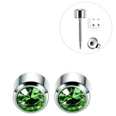 AnpassungsfäHig 1 Paar Medizinische Ohrstecker Silber Gesundheitsstecker Ohrringe Stein HellgrÜn QualitäT Und QuantitäT Gesichert